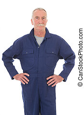 man in blue overall - Senior laborer in blue work wear...