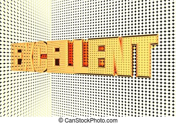 Excellent word in gold and illuminated, 3d render