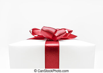 Gift box - White gift box with red ribbon bow
