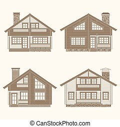 Log houses set - Set of vector facades of log houses.Classic...
