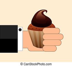 cup cake over beige background vector illustration