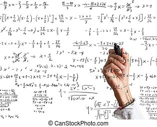 Mathematical calculation - Woman explains and solves a...