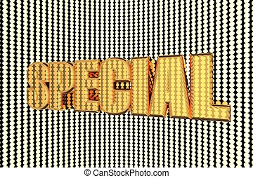 Special word in gold and illuminated, 3d render