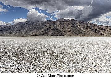 Mojave Desert Salt Flat with Storm Sky - Mojave desert dry...