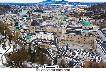 aerial view on old cit Salzburg at cloudy day - Beautiful...