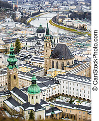 Beautiful aerial shot on tilt shift lens of Salzburg,...