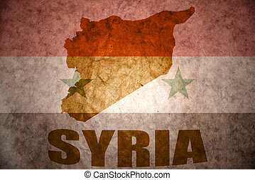 syria vintage map - syria map on a vintage syrian flag...