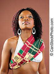 Looking Up - Beautiful African Young Woman Wearing...