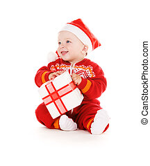 santa helper baby with christmas gift over white