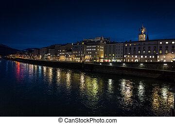 Salzach river at night shot from old bridge at Salzburg