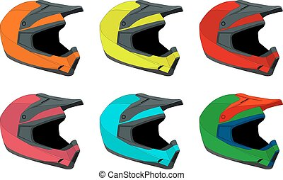 Bike helmet - Full-face bike helmets vector pack