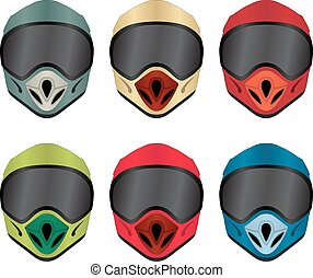 Motorbike helmet front view vector pack