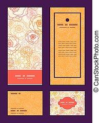 Vector warm flowers vertical frame pattern invitation...