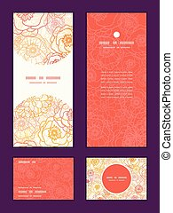Vector warm flowers vertical frame pattern invitation greeting, RSVP and thank you cards set