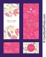Vector fresh field flowers and leaves vertical frame pattern...
