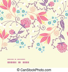 Vector Fresh Field Flowers and Leaves Horizontal Frame...