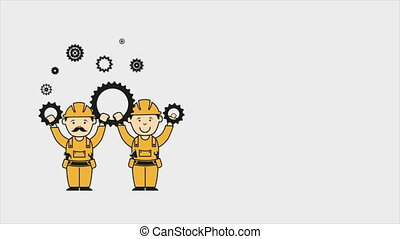 Industry Video animation - Workers with industry wheels...