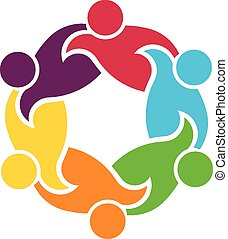 Teamwork circle of 6 people group - Teamwork round circle of...