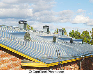 Steel pitched roof - New steel pitched roof with water drain...