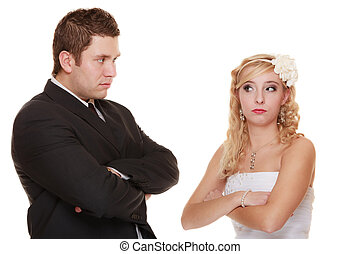 bride and groom looking at each other offended - Wedding...