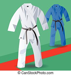 two kimono for judo on abstract tatami