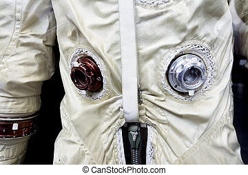 Old astronaut suit with ports and zipper - Close-up of an...