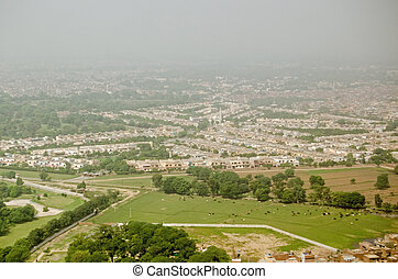 Lahore and cattle, aerial view - View from above of the city...