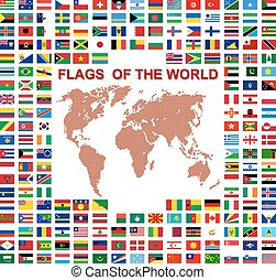 Flags of the world and map on white background. Vector...
