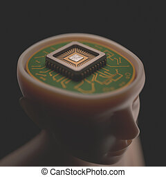 Micro Brain - Microprocessor in the head Concept of science...