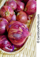 Red Onion Allium Ascalonicum on bamboo basket