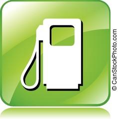 燃料, ポンプ, 緑, アイコン