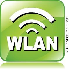 green wlan icon - illustration of green wlan icon on white...