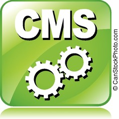green cms icon - illustration of green cms icon on white...