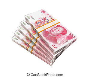 Stacks of Chinese Yuan Banknotes isolated on white...