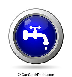 Water tap icon. Internet button on white background.