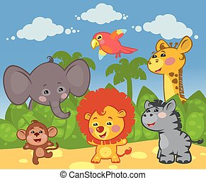 Group of African animals in the nat