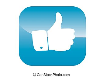 thumbs up icon blue backgroun - thumbs up icon on a blue...