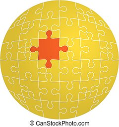 Jigsaw puzzle in the shape of a sphere with one red. Vector...