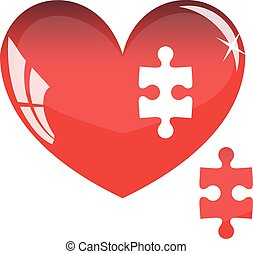 Jigsaw puzzle in the shape of a red heart. Vector illustration