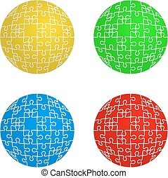 Jigsaw puzzle set form of spheres four colors. Vector...