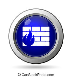 Firewall icon. Internet button on white background.