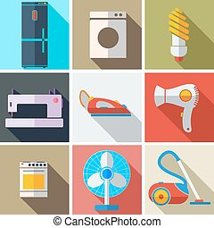 Collection modern flat icons household appliances with long...