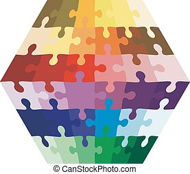 Background Vector Illustration jigsaw puzzle in the form of a he