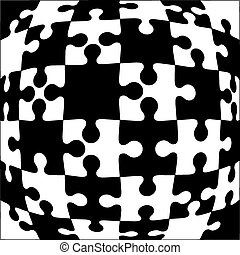 Background Vector Illustration black and white jigsaw...