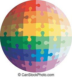 Jigsaw puzzle shape of a ball, colors rainbow. Vector...