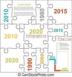 Infographic report templates in puzzle jigsaw elements...
