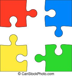 Four colored puzzle pieces on white background. Vector...