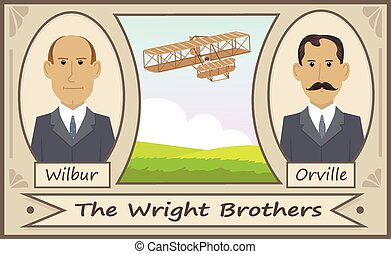 The Wright Brothers - Cartoon illustration of the Wright...