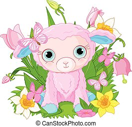 Cute cub sheep - Illustration of beautiful princess holds...