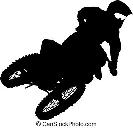 Black silhouettes Motocross rider on a motorcycle Vector...